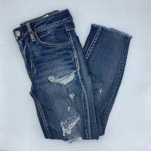 American Eagle Light Wash Distressed Jeggings